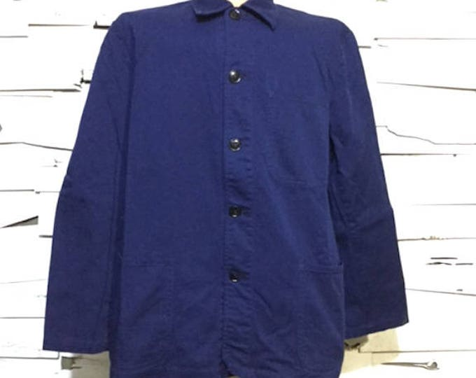 Vintage European Blue Cotton Button Up Distressed / Weathered Chore Coat  (os-ewj-7)