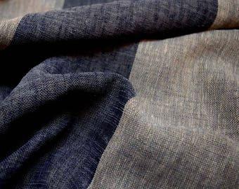 Grey Blue Sheer Stripe Fabric Andres Denim