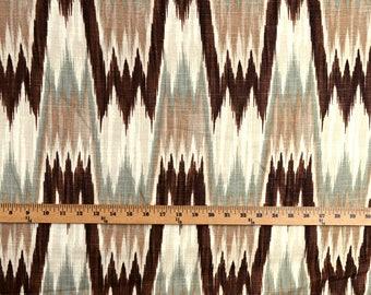 Brown Green Flame Stitch Fabric