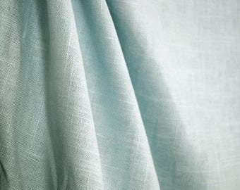 Jefferson Linen Sky Blue Curtain Fabric