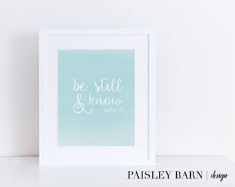 Be Still & Know Digital Downloadable Print|  5x7 8x10 8x8 | Gold, Instagram, boss babe, girl boss, gold office, wall art