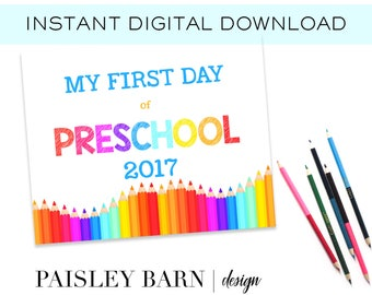 First Day of Preschool Print INSTANT DOWNLOAD |  digital download, custom, printable, 1st day of, preschool, school signs pink