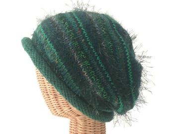 Knit Slouchy Hat Green Wool Hat Rolled Brim Cap Hand Knit Hat Mohair Slouchy Hat Knit Winter Hat Stocking Cap Irish Green Knit Haat