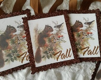 fall gift tags squirrels woodland fall paper ornaments party favor tags vintage style gifts for fall Cottage Chic decor Fall decor
