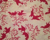 Vintage Feedsack Fabric Material Flour sack Songbirds Trees Cotton