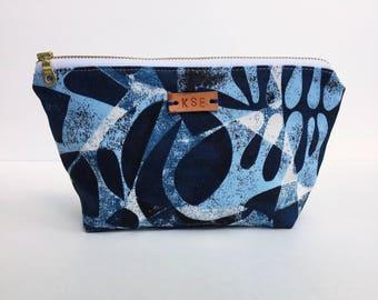 monogram makeup bag for women, small cosmetic bag, gift under 30, indigo makeup organizer, small zipper pouch, teacher gift blue toiletry ba