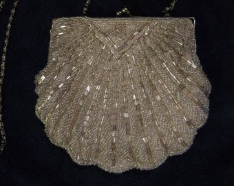 Vintage SILVER Beaded Clamshell Evening Purse