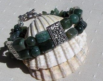 "Green Moss Agate Crystal Gemstone Bracelet ""Meadow Moss"", Green Bracelet, Calming Bracelet, Chakra Bracelet, Agate Bracelet, Moss Agate"