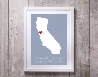 Where It All Began Gift, Paper Gift, Anniversary Gift For Her, Couple's Gift, Personalized California Map, Love Print