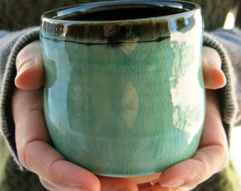 Aqua Green Handmade Ceramic Juice Cup, Tea Cup, Whiskey Cup, Teabowl, Yunomi Simple Rustic Porcelain, Artisan Pottery by Licia Lucas Pfadt