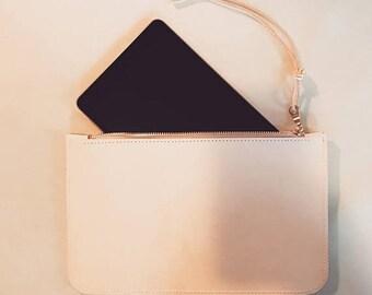 summer sale natural leather clutch. ipad clutch. iphone clutch. natural leather zipper wallet
