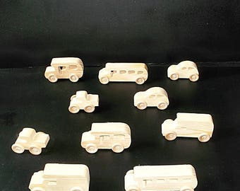10 Handcrafted Wood Toy School Buses, Pickups, Cars   OT-16  unfinished or finished