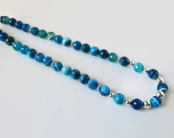 Blue Agate Necklace Teal Blue Necklace Sapphire Gemstone Necklace Blue Beaded Long Necklace Stone Quartz Sterling Silver Banded Agate