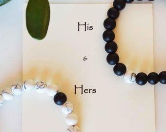 Couple's matching bracelets, couples bracelet set, couple black w white bracelet set, His & Hers bracelets, Yours Mine bracelets, you me set