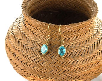 18k GOLD APATITE Earrings Faceted Ethereal Blue New World Gems