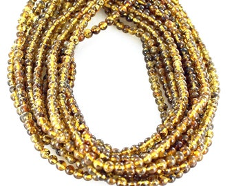 BALTIC AMBER BEADS Golden with Inclusions 5mm New World Gems