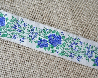 Vintage Jacquard Ribbon Trim Embroidered Blue and Green Flowers 2 Yards