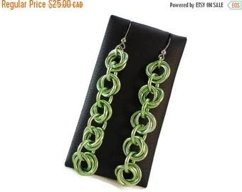 VACATION SALE Bright Green Chain Earrings Long Chainmaille Earrings Chunky, Earrings Green Chainmaille Lime, Green Jewelry Aluminum Earrings