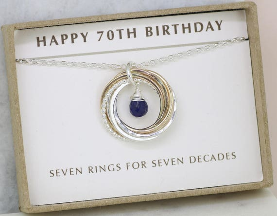70th Birthday Gift Blue Sapphire Necklace September