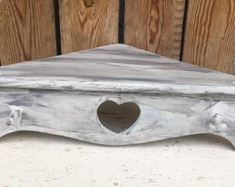 Farmhouse Chalk Painted Corner Heart Peg Shelf UNDER 20