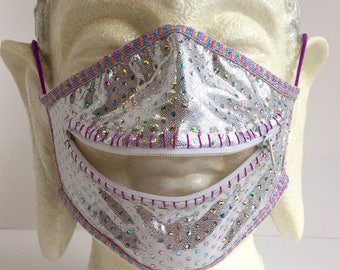 Day license zippermask inspired by the Sensatron 5000 for Burning Man dreamers and adventurers