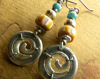 Naga Bead Earrings Pewter African Silver Trade Striped Orange