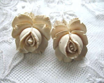 Vintage Carved Celluloid Flower Earrings ~ Cream Celluloid Roses ~ Clip On