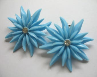 Vintage Soft Plastic & Rhinestone Earrings ~ Blue Flowers ~ Clip On