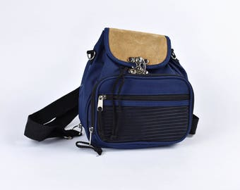 Navy Blue Nylon and Suede Backpack with Convertible Strap from Backpack to Purse