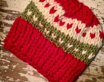 Holiday Hat//Christmas Hat//Adult Knit Hat