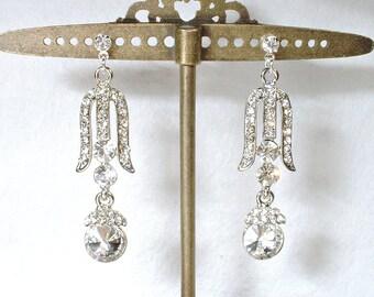 Bridal Earrings, Art Deco Rhinestone Dangle Earrings, 1920s Silver Long Crystal Drop Earrings,Vintage Wedding Gatsby Flapper Jewelry Downton