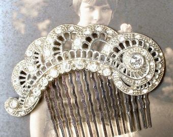 Antique Lace Edwardian Bridal Hair Comb,Rhinestone Fan 1920 Hairpiece,Art Nouveau Hair Piece Vintage Wedding Headpiece Downton Abbey Flapper