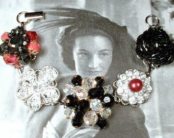 Black & Red Crystal Rhinestone Silver Bridal Bracelet, Vintage Earring Bracelet Bridesmaid Jewelry,Mother Bride Groom Wedding Gift