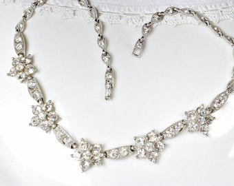1940s BOGOFF Vintage Crystal Rhinestone Bridal Necklace, Silver Statement Necklace, Great Gatsby Wedding Choker Necklace Old Hollywood Glam