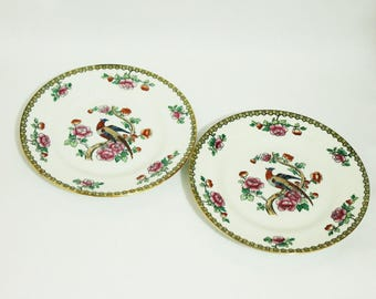 Antique F Winkle Whieldon Ware PHEASANT Bread Plates - Set of Two (1751)