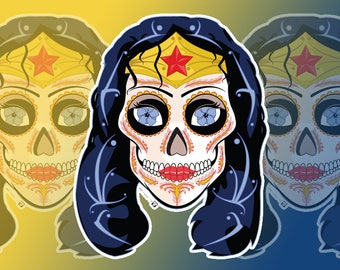 Wonder Woman Sugar Skull 3x4 Vinyl Sticker