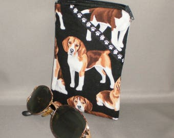 Beagle Eyeglass or Sunglasses Case - Padded Zippered Pouch - Dogs