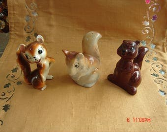 Vintage Trio of Ceramic Squirrel Figurines - An Instant Collection - Sweet