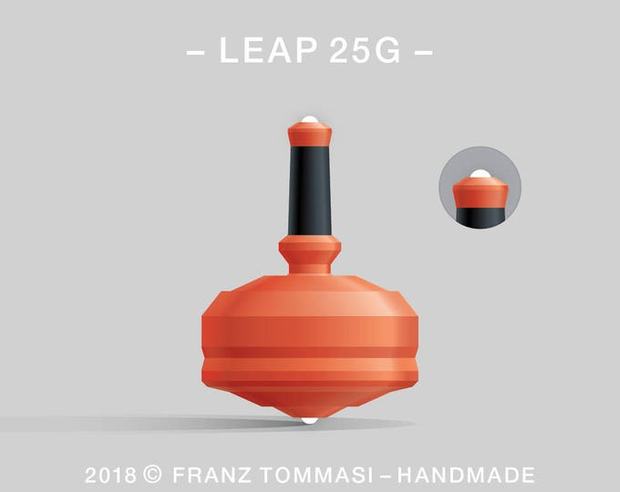 LEAP 25G Orange – Precision handmade polymer spin top with dual ceramic tip and rubber grip