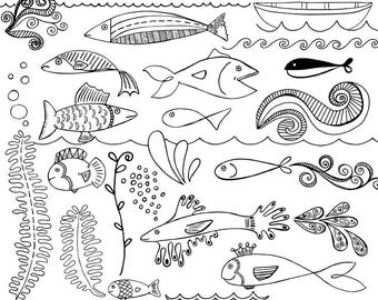 Fish Digital Stamp, Nautical ClipArt, Hand Drawn Doodles + Photoshop Brushes Fish Clip Art, Embroidery Line Art Download