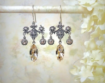 Champagne Teardrop Crystal Earrings Romantic Champagne Chandelier Earrings Swarovski Silk Marquise Earrings Silver Filigree Bridal Earrings