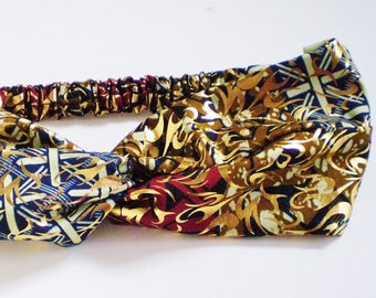 African Dark Blue Maroon with Gold Turban Headband, Elegant African Turban, Elegant African Twist Headband