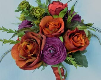 Feather Bridal Bouquet Fabulous Fall colors in burnt orange, rust, eggplant, purple and olive green