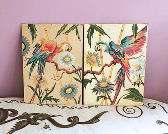 Vintage 50s 60s Paint by Numbers Parrots Macaws Paintings Tropical Island Florida Birds Pair PBN