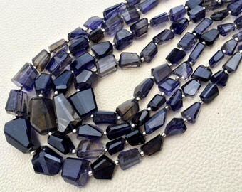 Brand New Item, 8 Inch Strand, Natural Water Sapphire Iolite faceted Nuggets Briolettes, 18-11mm Size Aprx,Great Value Item