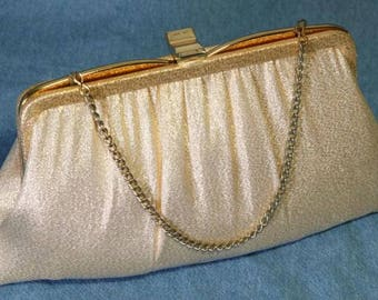 Vintage 60s 1960s Ande' Gold Lame Handbag Cloth Evening Holiday Purse Clutch Chain Handle