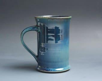 Pottery coffee mug, ceramic mug, stoneware tea cup deep blue 12 oz 4038