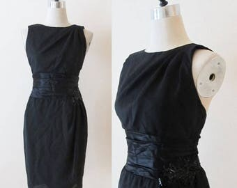 40% OFF SALE Vintage Cocktail Party Dress / Black Satin Wiggle Dress / 80's Classy Fitted Formal Sequined HOLIDAY Dress / Size X-Small