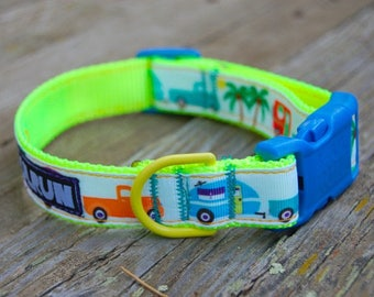 Dog Collar - Trucks with Campers with HiViz Yellow Webbing/Blue Buckle