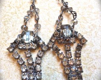 Rhinestone Handmade Earrings-  Vintage Assemblage  Shoe Clip Chandelier Earrings- Victorian Earrings Downton Abbey, Great Gatsby Style